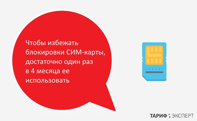 Необходимо один раз в 4 месяца использовать СИМ-карту